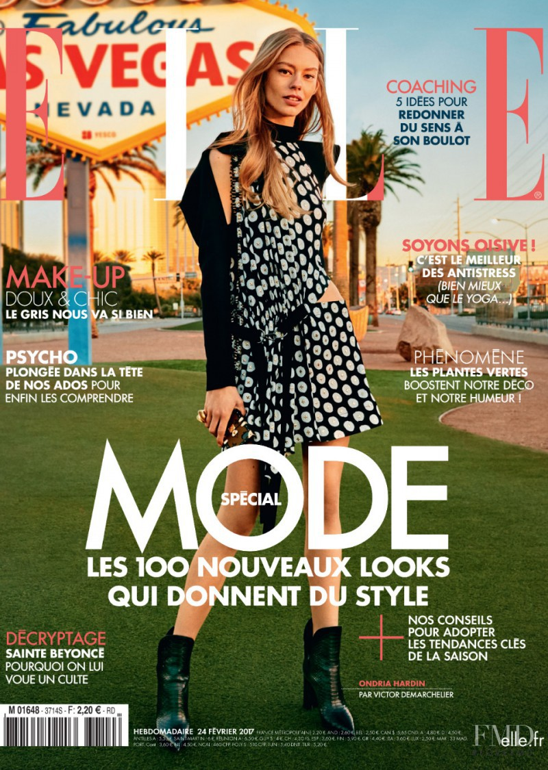 Ondria Hardin featured on the Elle France cover from February 2017
