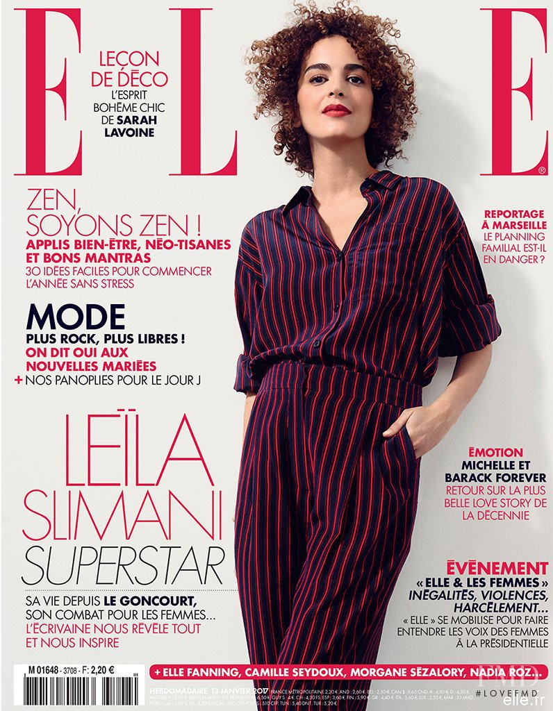 Leïla Slimani  featured on the Elle France cover from January 2017