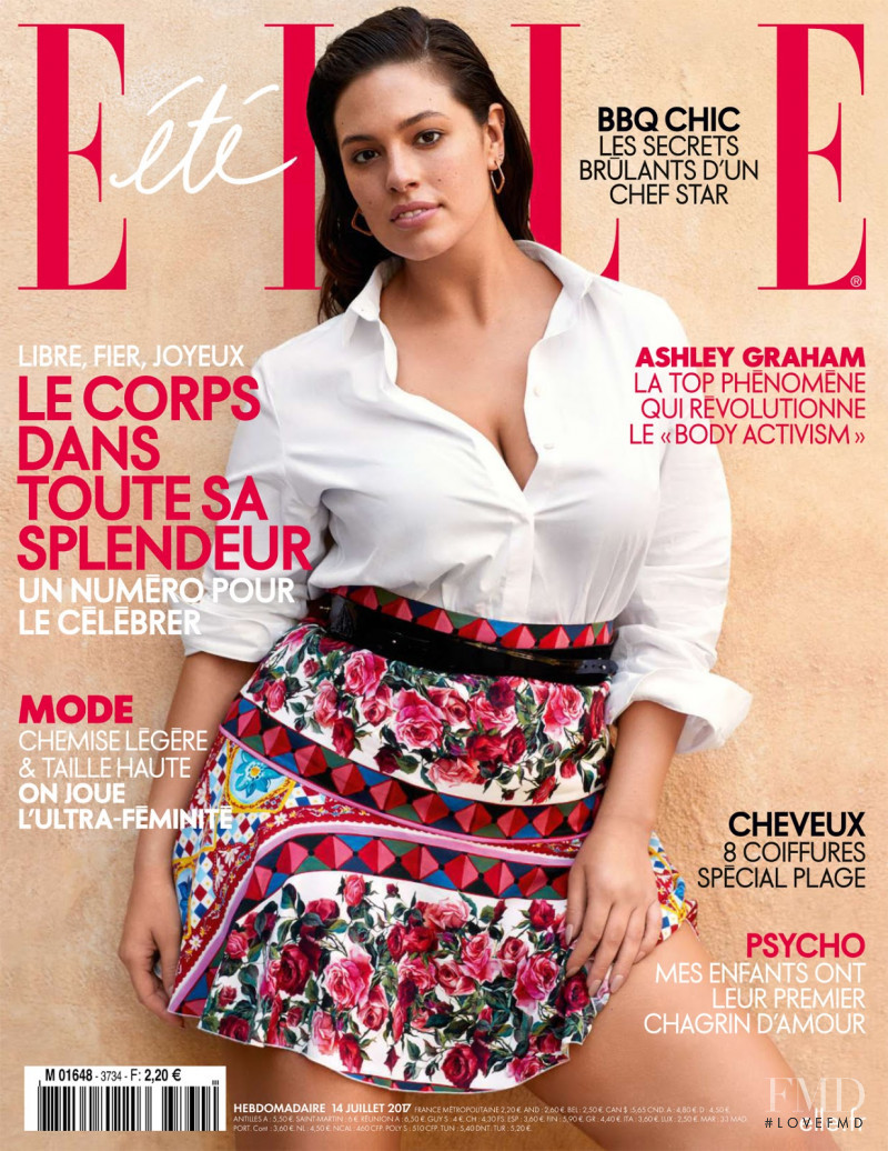 Ashley Graham featured on the Elle France cover from July 2017