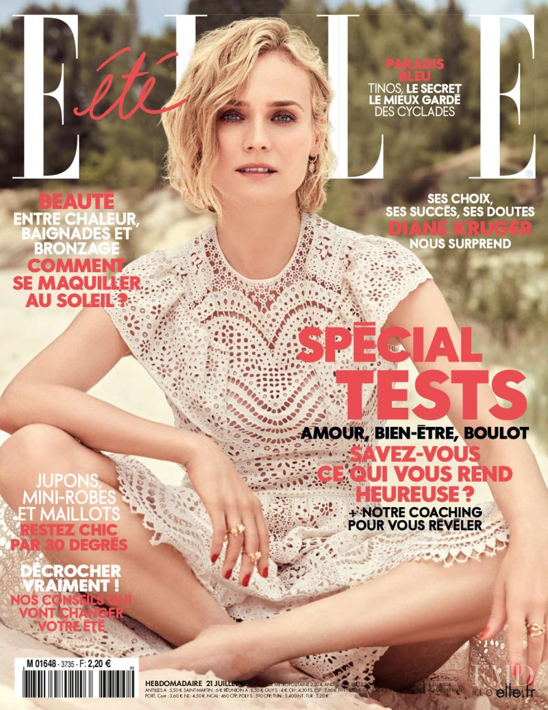 Diane Heidkruger featured on the Elle France cover from July 2017