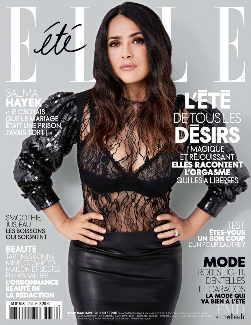 Salma Hayek featured on the Elle France cover from July 2017