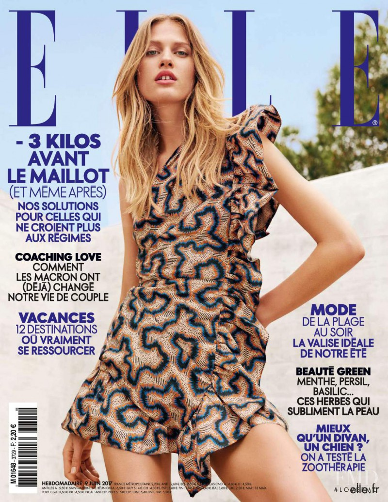 Laura Julie Schwab Holm featured on the Elle France cover from June 2017