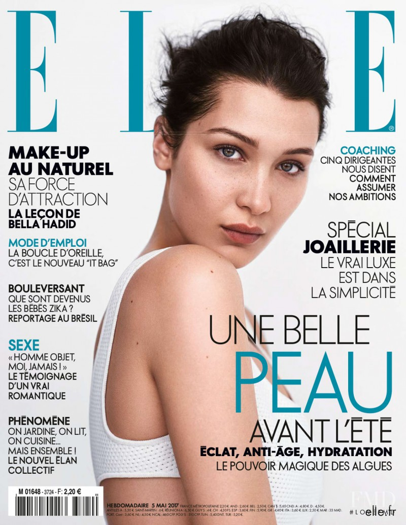 Bella Hadid featured on the Elle France cover from May 2017
