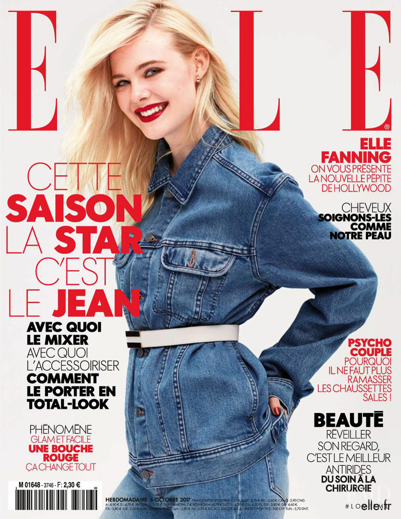 Elle Fanning featured on the Elle France cover from October 2017