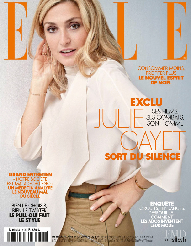 Julie Gayet featured on the Elle France cover from December 2018