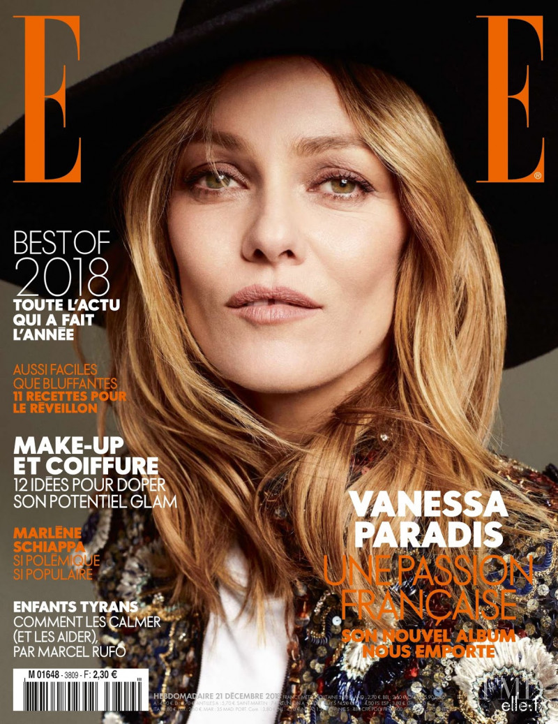 Vanessa Paradis featured on the Elle France cover from December 2018
