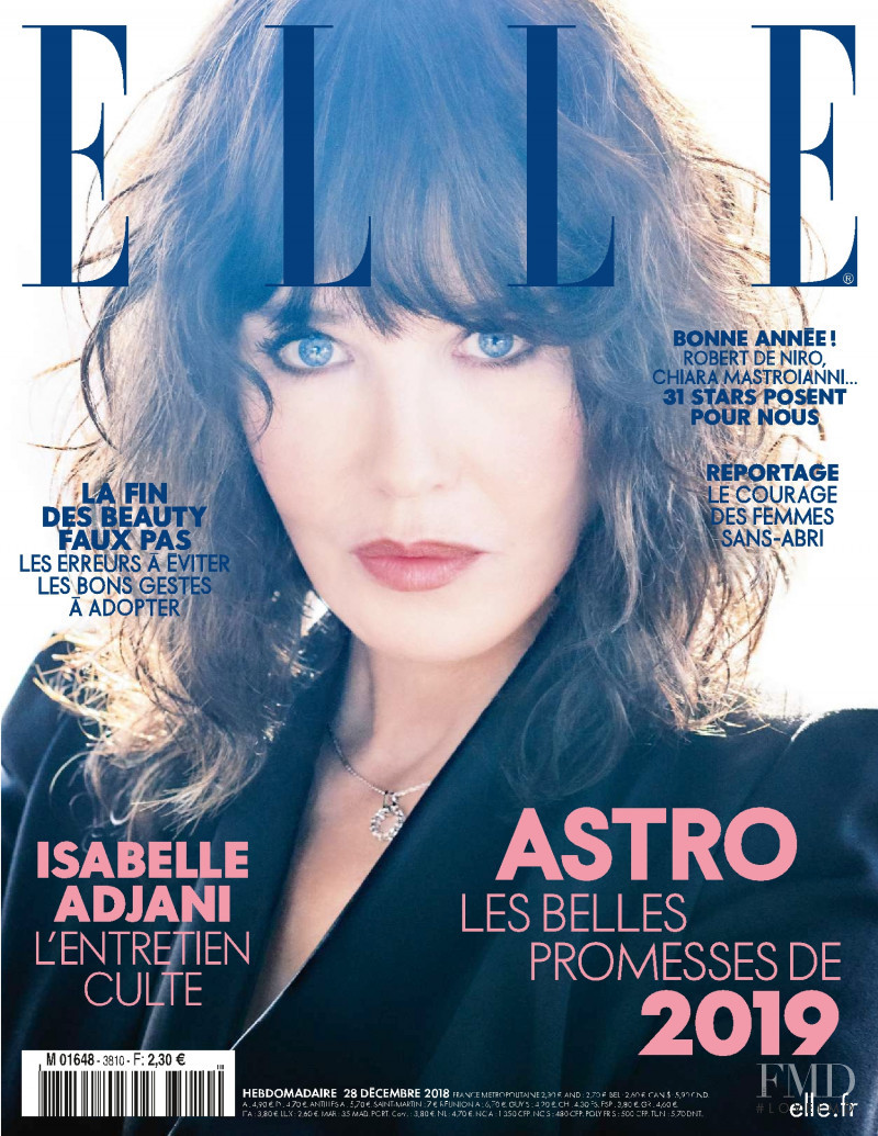 Isabelle Adjani featured on the Elle France cover from December 2018