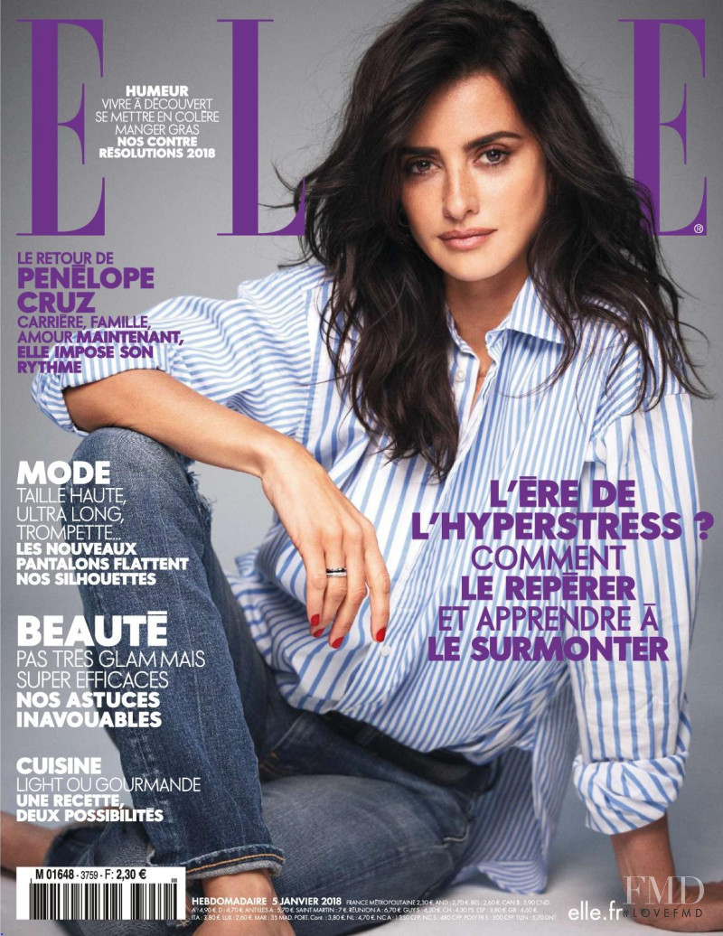 Penélope Cruz featured on the Elle France cover from January 2018