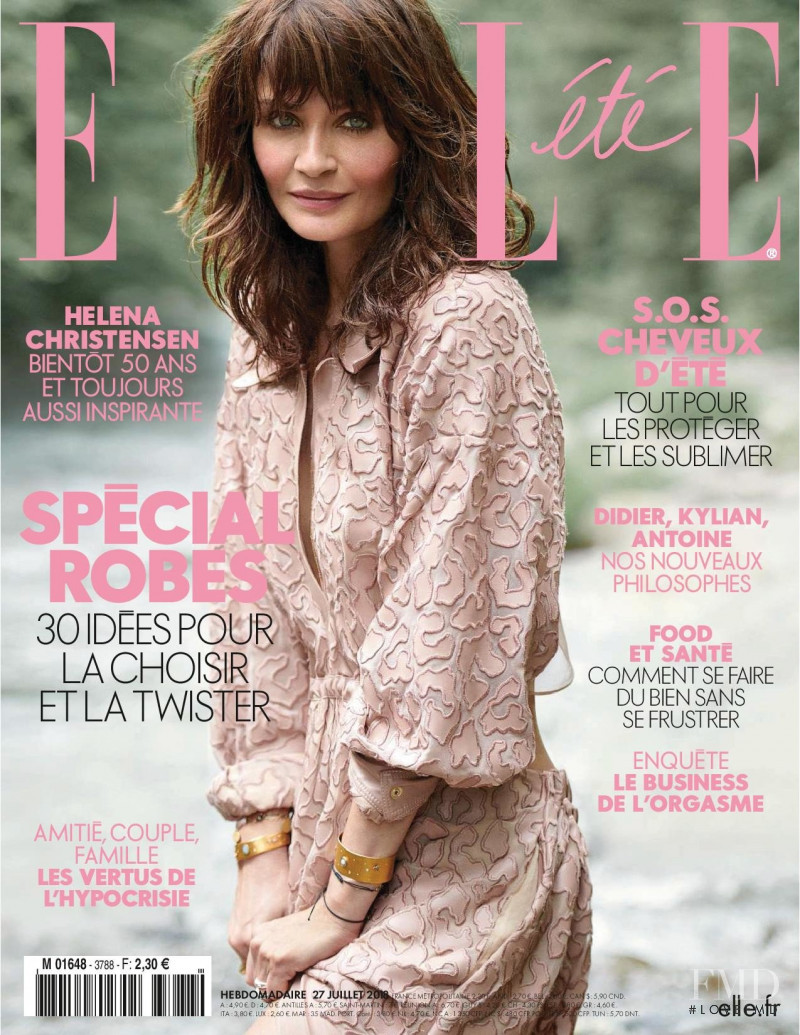 Helena Christensen featured on the Elle France cover from July 2018