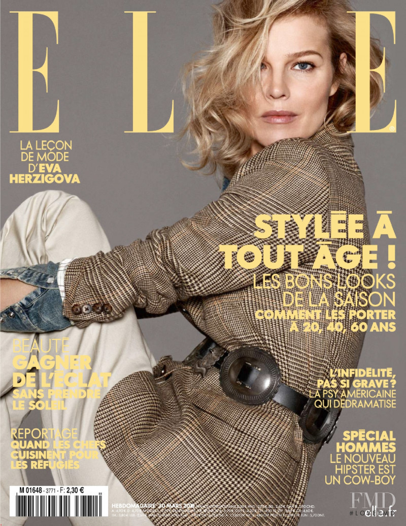 Eva Herzigova featured on the Elle France cover from March 2018
