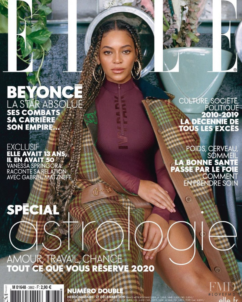 Beyonce featured on the Elle France cover from December 2019