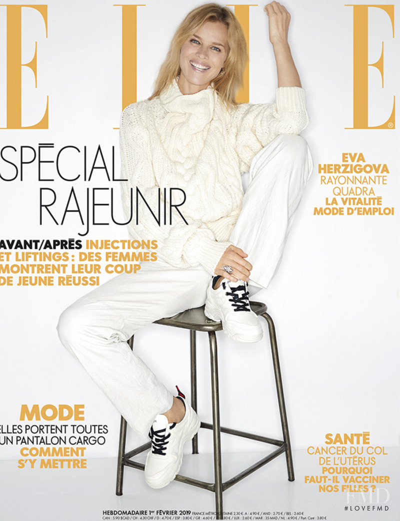 Eva Herzigova featured on the Elle France cover from February 2019