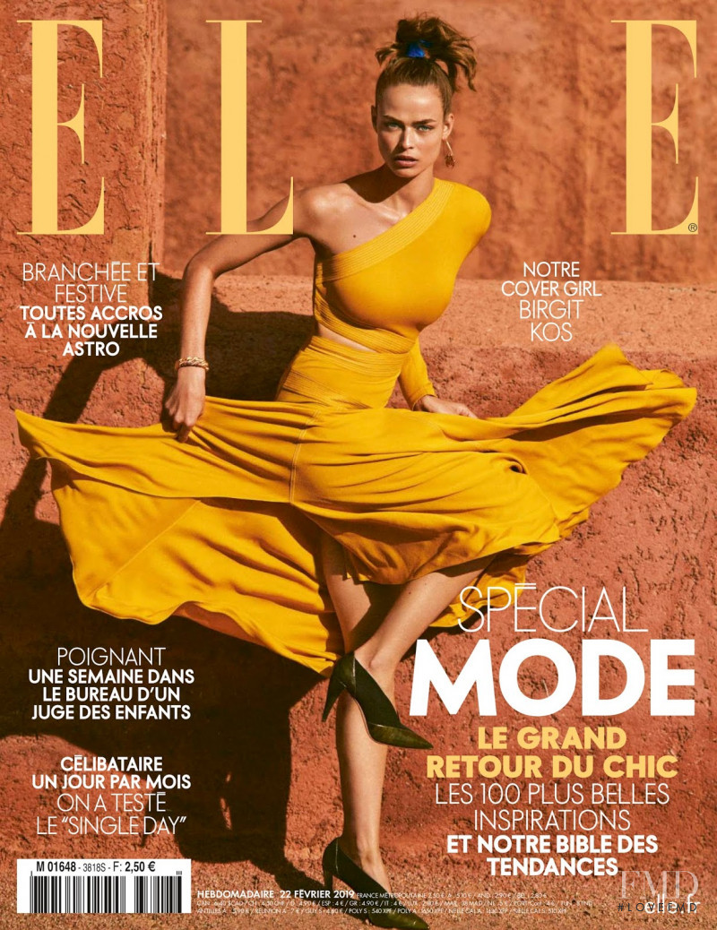 Birgit Kos featured on the Elle France cover from February 2019