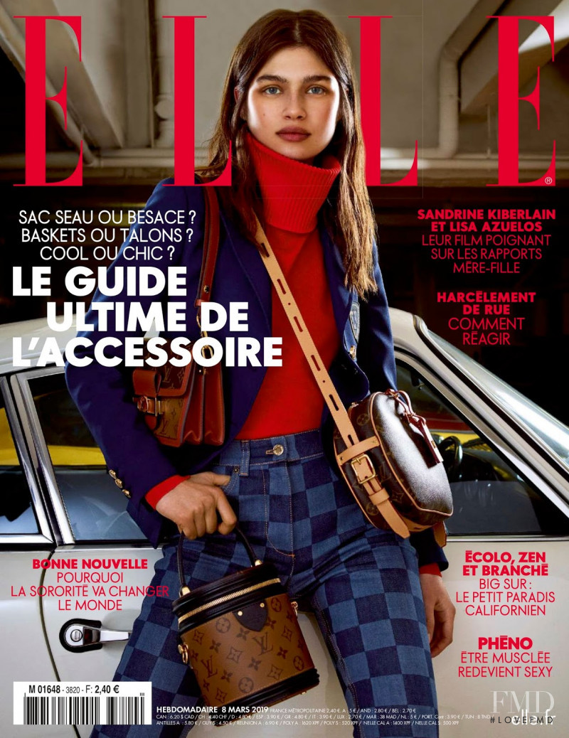 Nastya Zakharova featured on the Elle France cover from March 2019