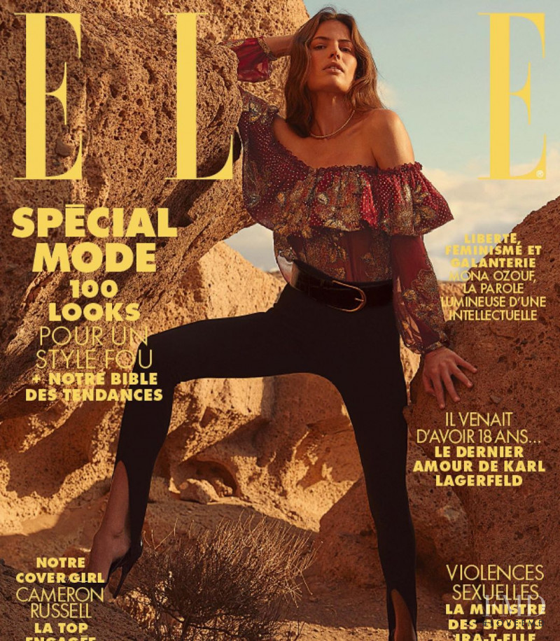 Cameron Russell featured on the Elle France cover from February 2020