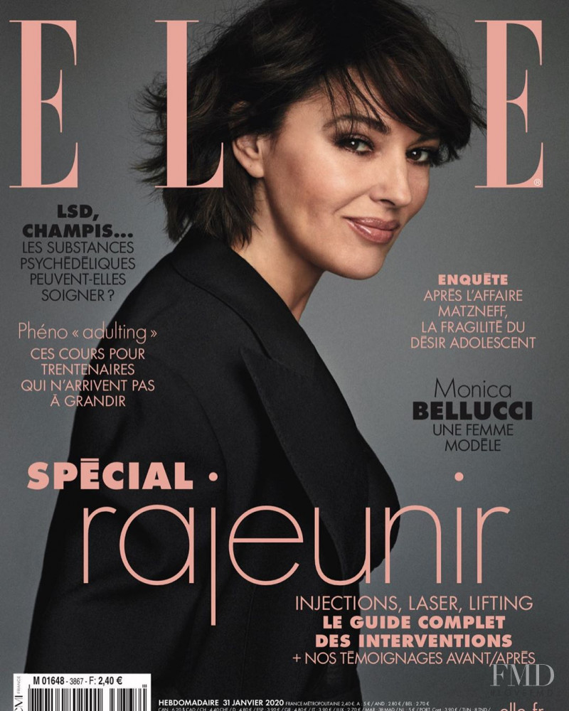 Monica Bellucci featured on the Elle France cover from January 2020