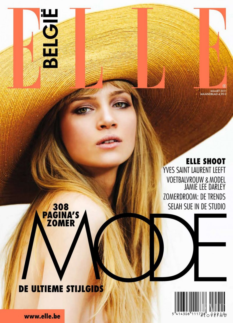 Anne Marie van Dijk featured on the Elle Belgium cover from March 2011