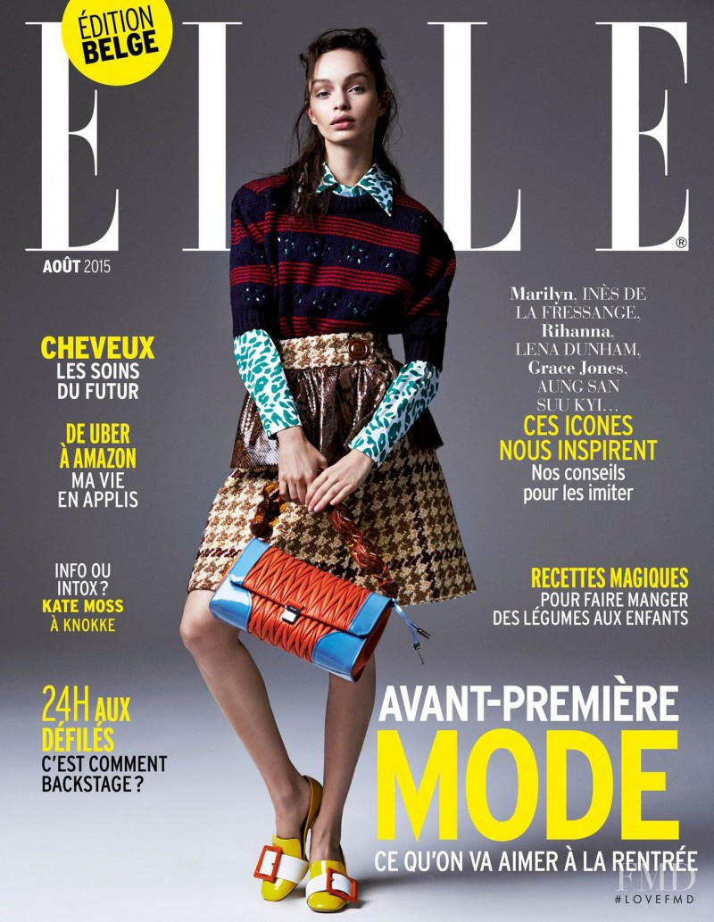 Luma Grothe featured on the Elle Belgium cover from August 2015