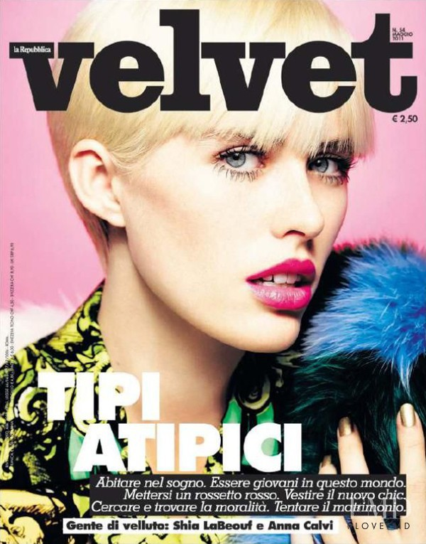 Caroline Barcomb featured on the velvet Italy cover from May 2011