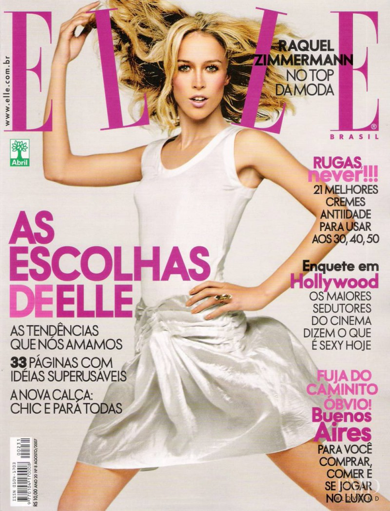 Raquel Zimmermann featured on the Elle Brazil cover from August 2007