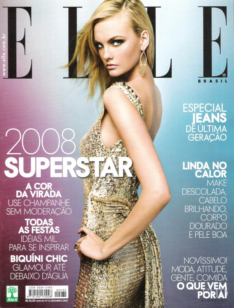 Caroline Trentini featured on the Elle Brazil cover from December 2007