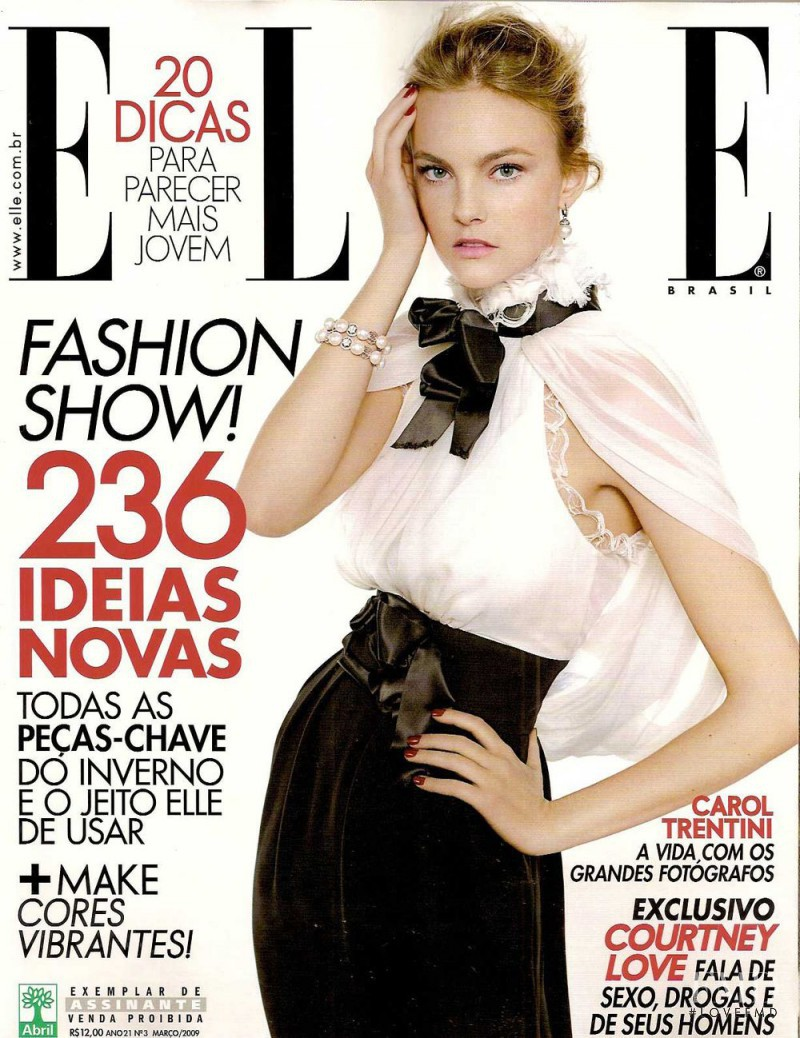 Caroline Trentini featured on the Elle Brazil cover from March 2009