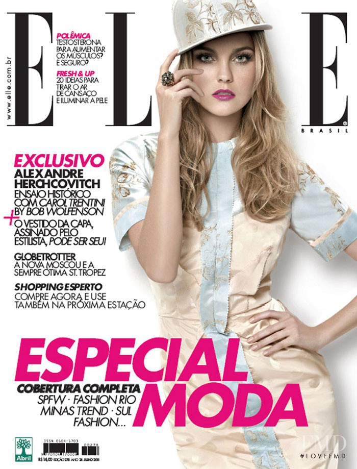 Caroline Trentini featured on the Elle Brazil cover from July 2011