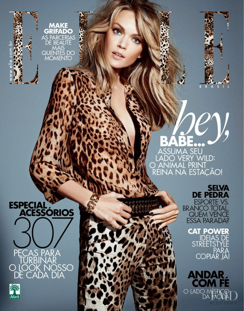 Lindsay Ellingson featured on the Elle Brazil cover from April 2014