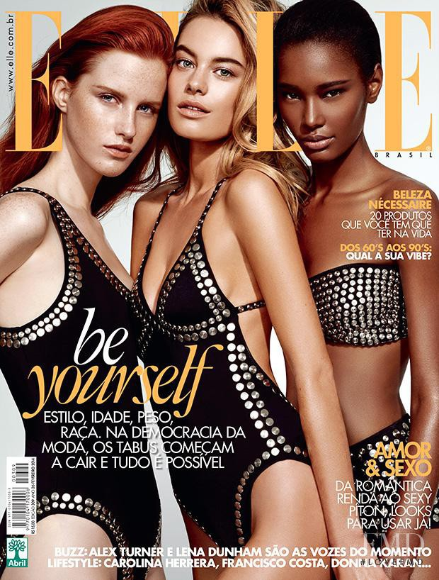 Magdalena Jasek, Camille Rowe, Ysaunny Brito featured on the Elle Brazil cover from February 2014