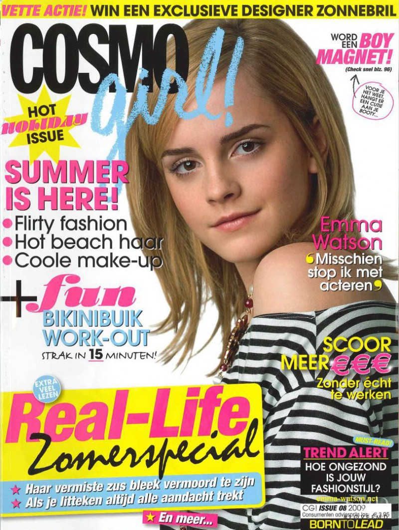 cover of cosmogirl netherlands with emma watson august 2009 id