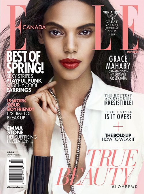 Grace Mahary featured on the Elle Canada cover from May 2013