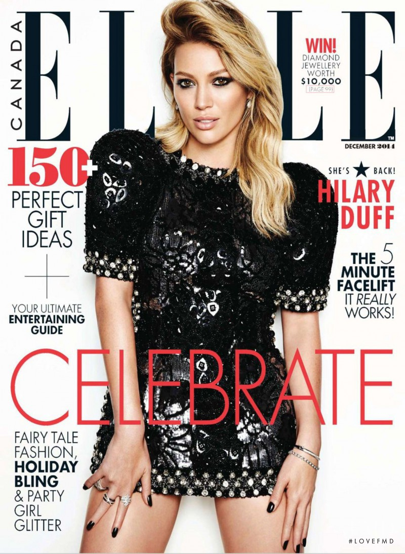 Hilary Duff featured on the Elle Canada cover from December 2014