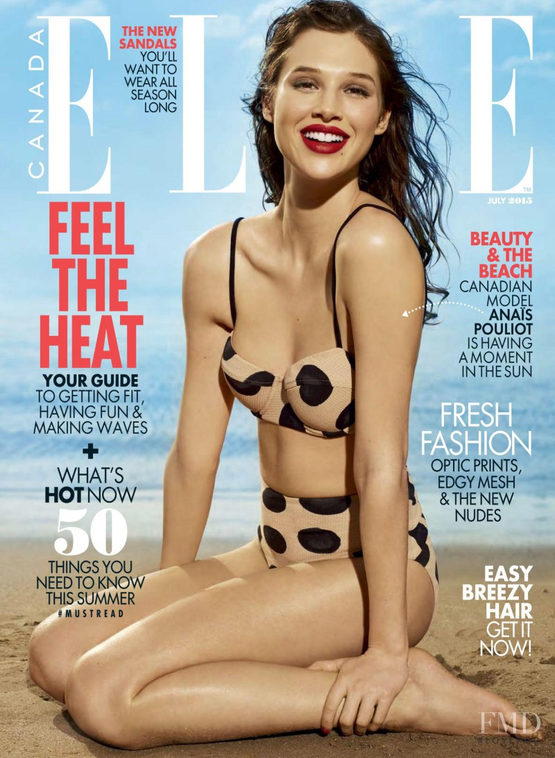 Anais Pouliot featured on the Elle Canada cover from July 2015