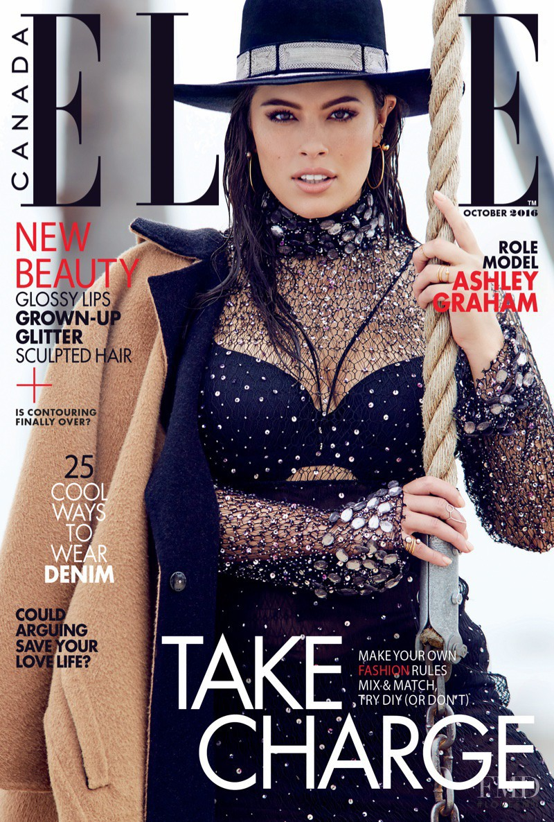 Ashley Graham featured on the Elle Canada cover from October 2016
