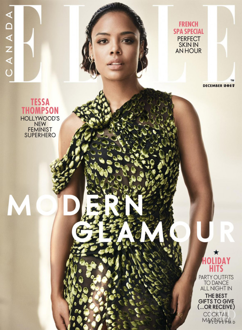 Tessa Thompson featured on the Elle Canada cover from December 2017