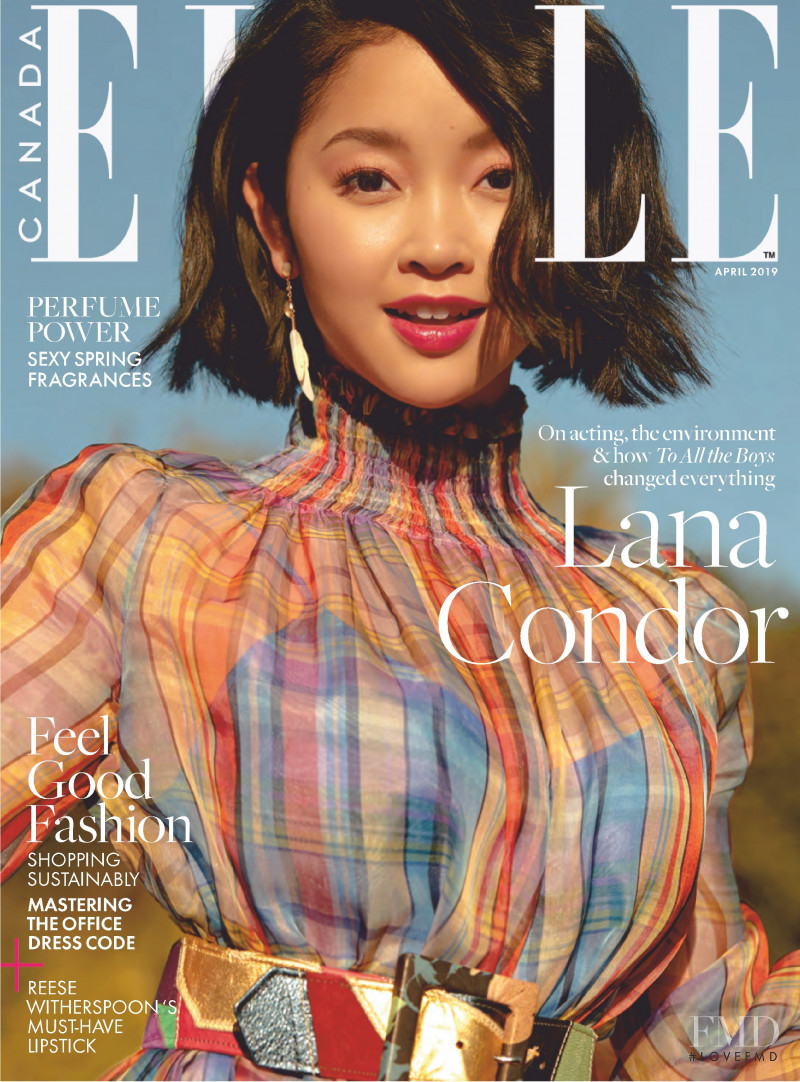 Lana Condor featured on the Elle Canada cover from April 2019