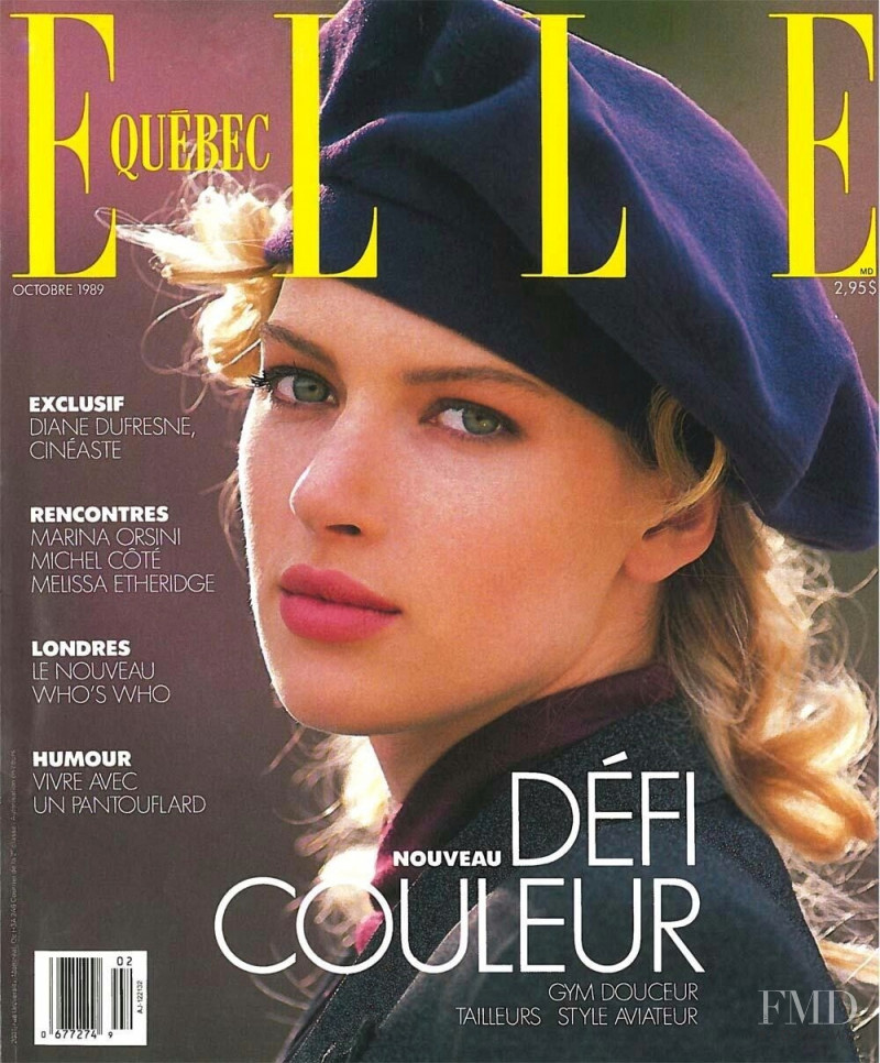 Andrea Battersby featured on the Elle Quebec cover from October 1989