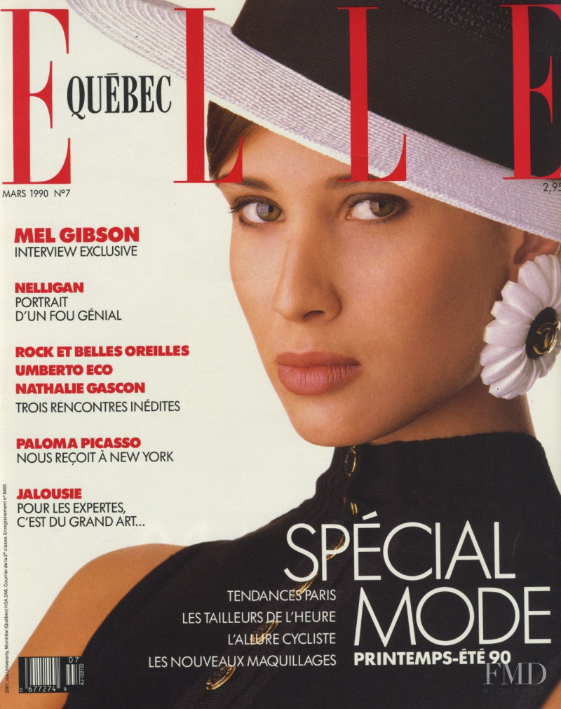Alexandra Aubin featured on the Elle Quebec cover from March 1990