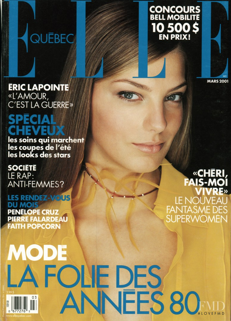 Daria Werbowy featured on the Elle Quebec cover from March 2001
