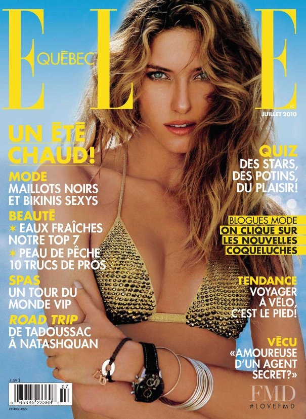 Nadejda Savcova featured on the Elle Quebec cover from July 2010