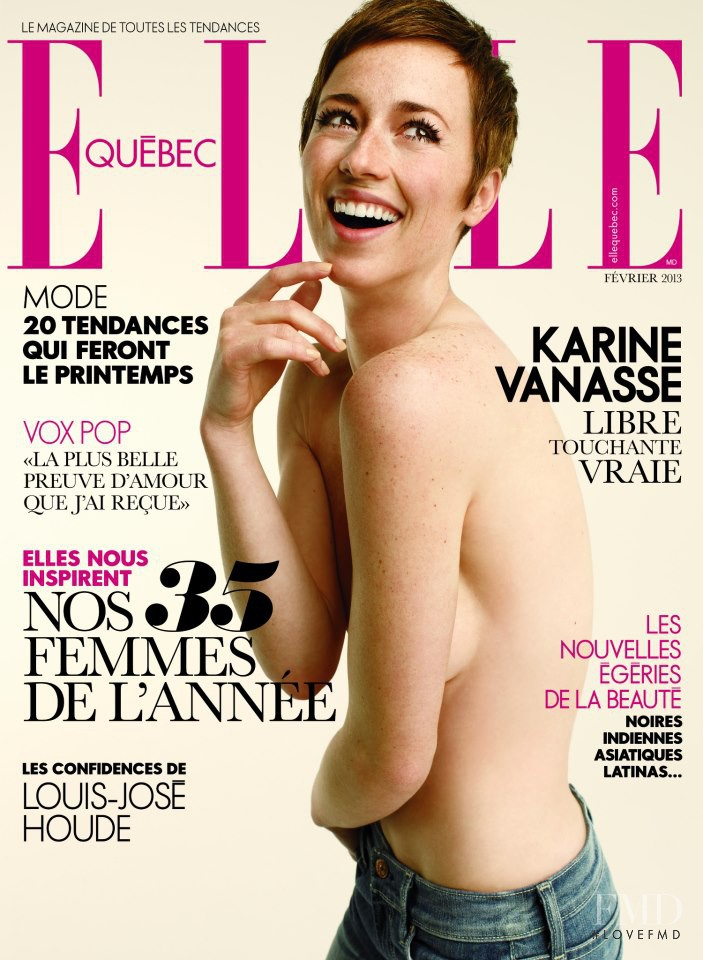 Karine Vanasse featured on the Elle Quebec cover from February 2013