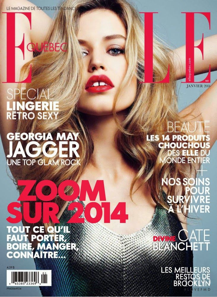 Georgia May Jagger featured on the Elle Quebec cover from January 2014
