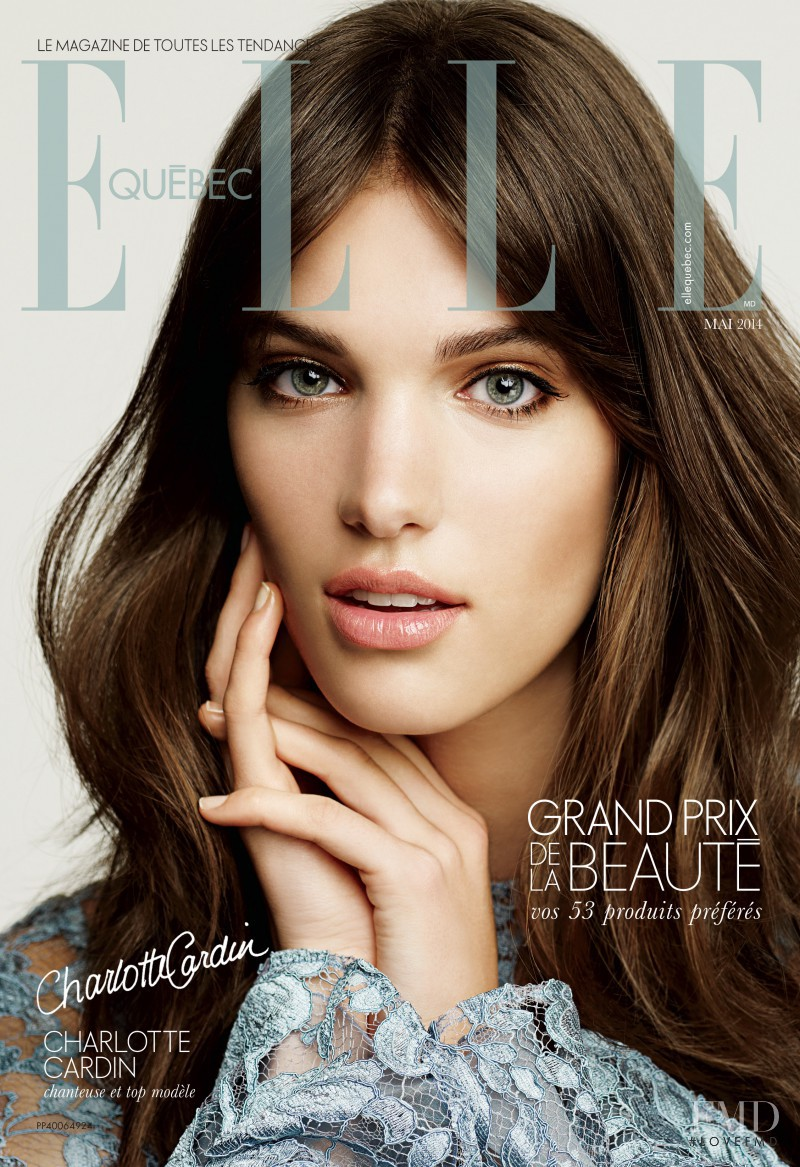 Charlotte Cardin-Goyer featured on the Elle Quebec cover from May 2014