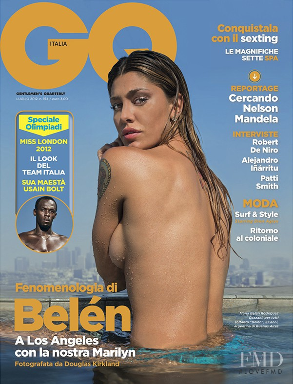 Belen Rodriguez featured on the GQ Italy cover from July 2012