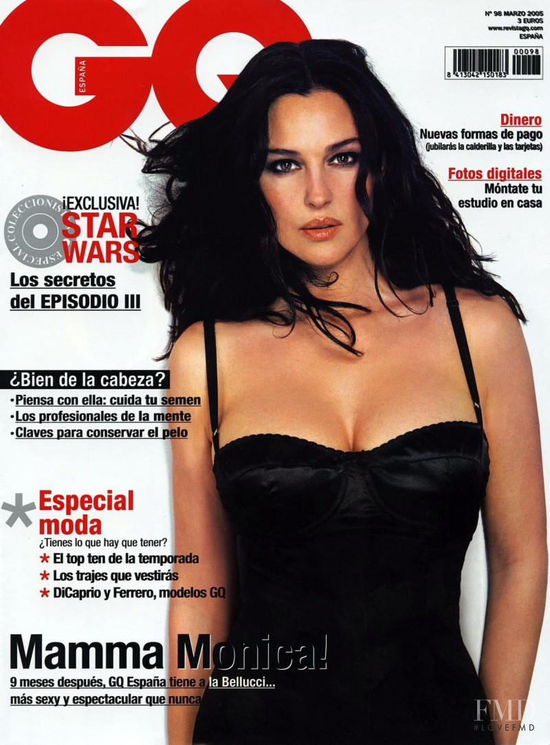 Monica Bellucci featured on the GQ Spain cover from March 2005