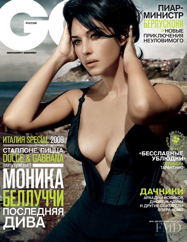 Monica Bellucci featured on the GQ Russia cover from August 2009