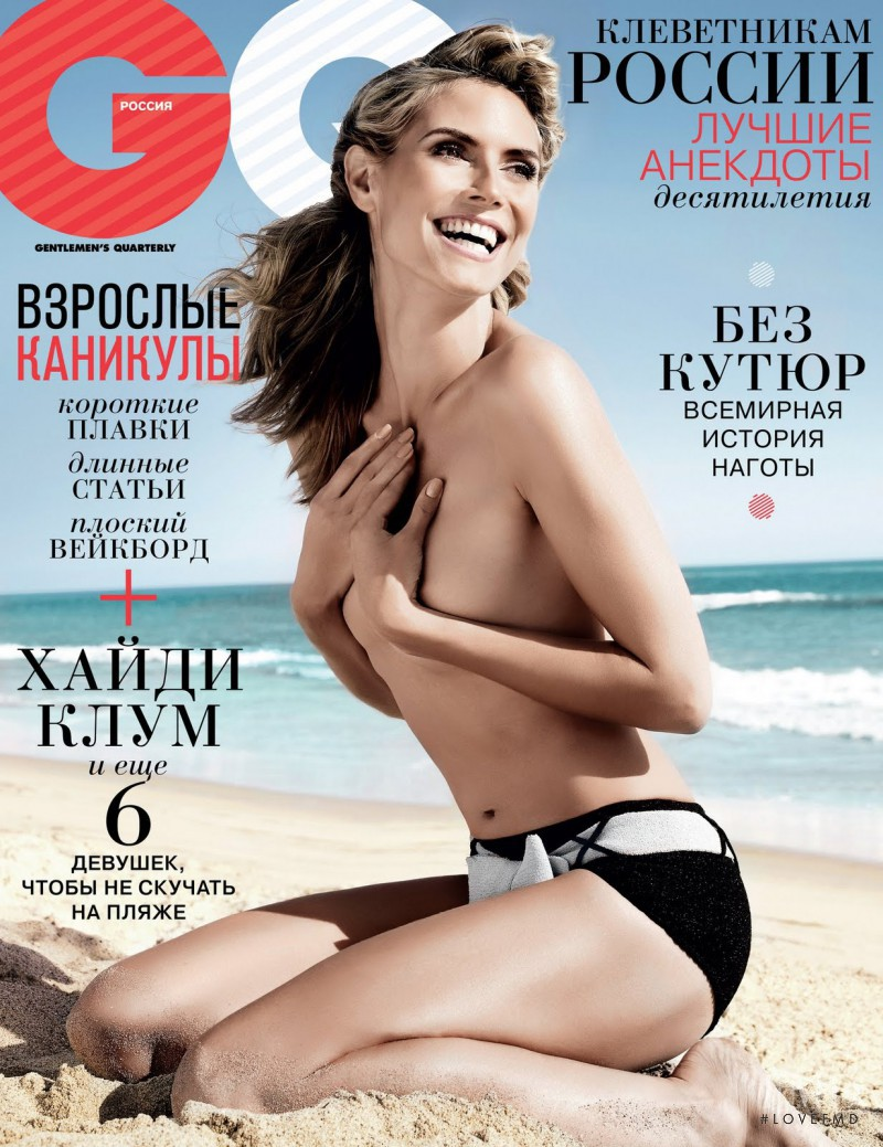 Heidi Klum featured on the GQ Russia cover from July 2011