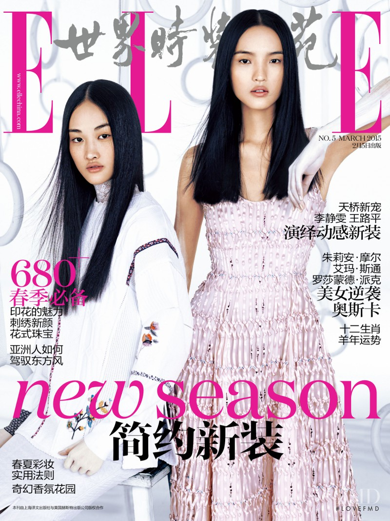 Jing  Wen, Luping Wang featured on the Elle China cover from March 2015