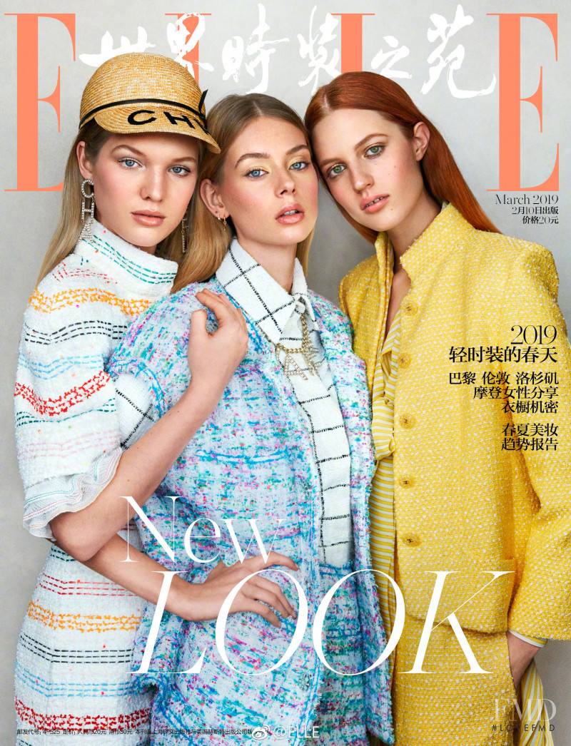 Lauren de Graaf, Jessica Picton Warlow, Julia Banas featured on the Elle China cover from March 2019