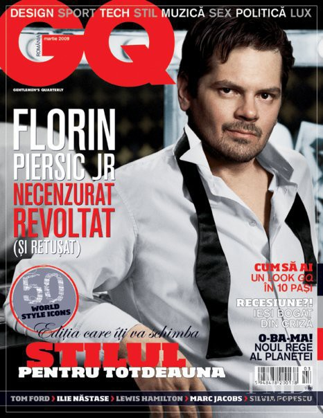 Florin Piersic Jr featured on the GQ Romania cover from March 2009